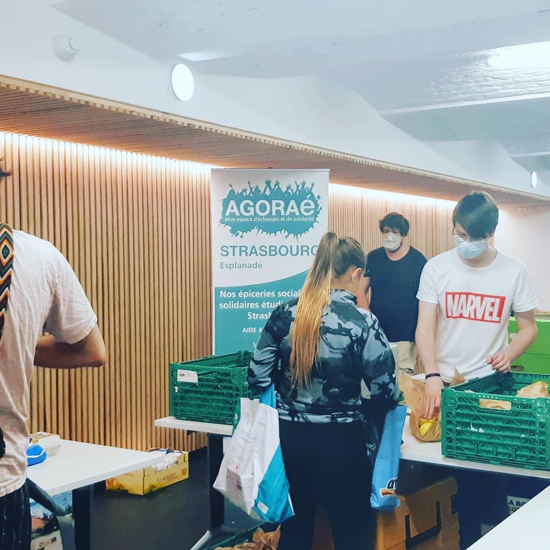 Distribution de paniers de première nécessité aux étudiants en précarité à Strasoubourg par l'AFGES