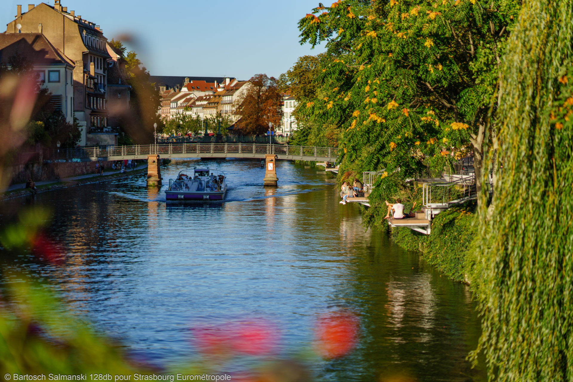 Une promenade en bateau sur l'Ill à Strasbourg pendant l'été