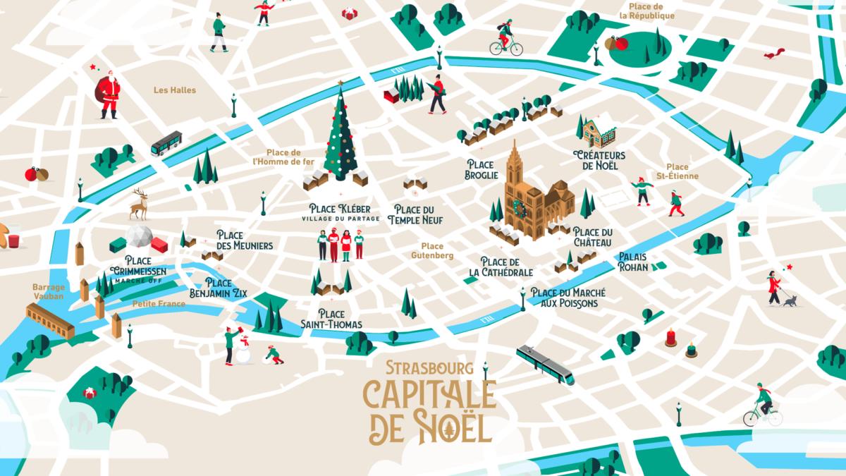 Carte des chalets du marché de Noël à Strasbourg 2020